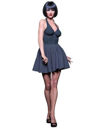 Beautiful brunette woman black short dress.Summer clothes collection.Bright makeup.Woman studio photography.Conceptual fashion art.Office business style.Femme fatale.3D Render.