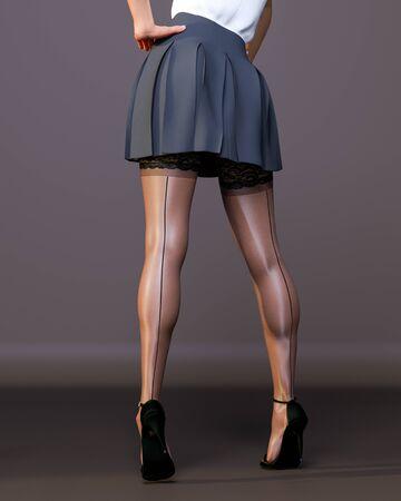 3D Beautiful female legs black stockings skirt dark background.Woman studio photography.High heel.Conceptual fashion art.Seductive candid pose.Render illustration.Summer clothes.Secretary uniform Stock fotó