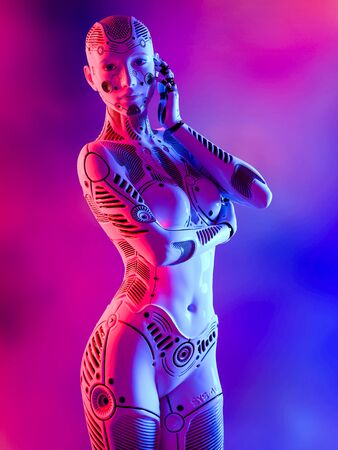 Robot woman. White metal droid. Android girl. Artificial Intelligence. Conceptual fashion art. Realistic 3D render illustration. Studio, isolate, high key. Reklamní fotografie