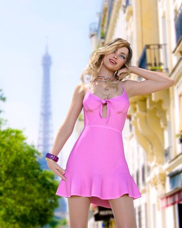Beautiful woman in short light slim pink summer dress background of Eiffel Tower in Paris.Long hair.Girl poses for photographer.Travel memory.Conceptual fashion art.3d render illustration. Reklamní fotografie