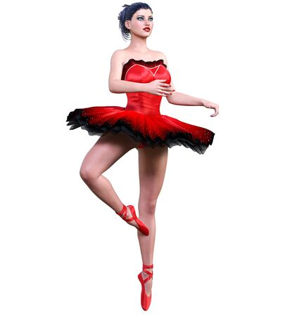 Dancing ballerina.Red ballet tutu.Dark hair girl blue eyes.Ballet street dancer.Studio photography.High key.Conceptual fashion art.3D render isolate illustration. Reklamní fotografie