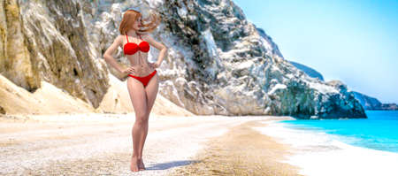 3D beautiful woman swimsuit bikini on sea beach.Rocky coast clear white sand.Summer rest.Blue ocean background.Sunny day.Conceptual fashion art.Seductive candid pose.Render illustration. Zdjęcie Seryjne