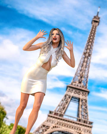 Beautiful woman in short evening dress background of Eiffel Tower in Paris.Long hair.Girl poses for photographer.Travel memory.Conceptual fashion art.3d render illustration.
