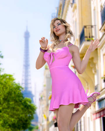 Beautiful woman in short light slim pink summer dress background of Eiffel Tower in Paris.Long hair.Girl poses for photographer.Travel memory.Conceptual fashion art.3d render illustration. Zdjęcie Seryjne