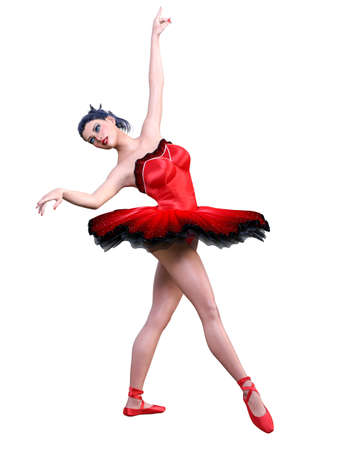 Dancing ballerina.Red ballet tutu.Dark hair girl blue eyes.Ballet street dancer.Studio photography.High key.Conceptual fashion art.3D render isolate illustration. Zdjęcie Seryjne