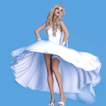 Beautiful woman in wind waves white wedding dress.Wedding fashion clothes collection.Bright makeup.Woman studio photography.Conceptual fashion art. Femme fatale.3D Render.
