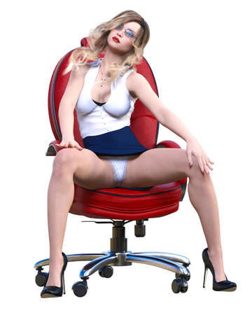 Long-haired sexy blonde secretary in mini skirt.Beautiful girl sitting office leather chair sexually explicit pose.Secretary uniform.Beautiful underwear collection.3D rendering isolate illustration