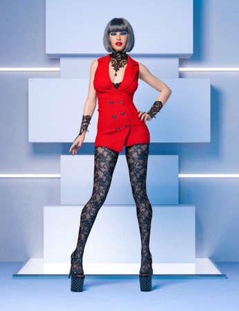 3D Beautiful sexy woman red super mini dress and black tights pantyhose.Woman studio photography.Fashion show.High heel.Conceptual fashion art.Render illustration. 写真素材
