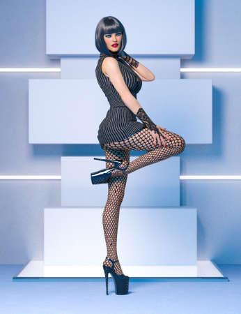 3D Beautiful sexy woman black super mini dress and tights pantyhose.Woman studio photography.Fashion show.High heel.Conceptual fashion art.Render illustration. 写真素材
