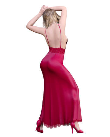 Beautiful sexy woman blonde in long evening dress.Summer clothes collection.Bright makeup.Woman studio photography.Conceptual fashion art.Femme fatale.3D Render. 写真素材