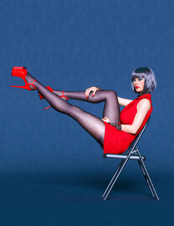 3D Beautiful sexy woman red super mini dress and black tights pantyhose.Woman studio photography.Sexy chair positions.High heel.Conceptual fashion art.Render illustration. 写真素材