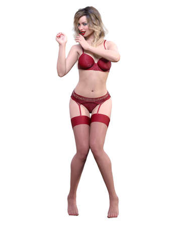 3D Beautiful sexy blonde woman red lingerie and stockings.Woman studio photography.High heel.Conceptual fashion art.Seductive candid pose.Render isolated illustration.Summer intimate clothes.