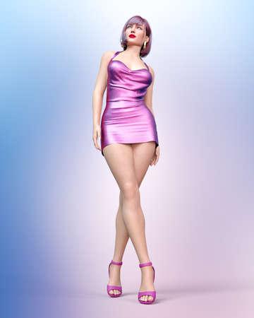 Beautiful woman short evening mini dress.Summer clothes collection.Bright makeup.Woman studio glamorous photo shoot.Conceptual fashion art.Seductive candid pose.Femme fatale.3D Render.