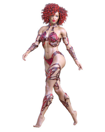Warrior amazon woman. Long hair. Muscular athletic body. Girl standing candid provocative pose. Conceptual fashion art. 3D render isolate illustration. Hi key.