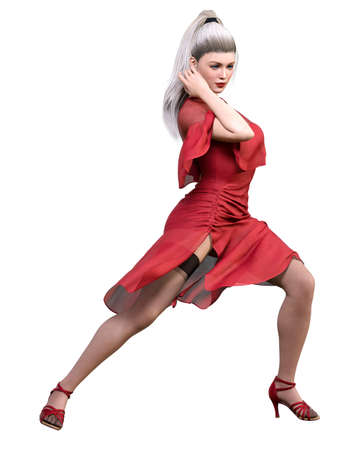 3D ballerina dancing classical dance.Blonde hair girl blue eyes.Red dress and black stocking.Ballet street dancer.Studio photography.Conceptual fashion art.Render illustration. 写真素材
