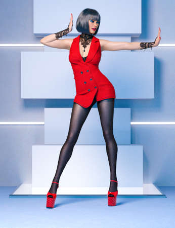 3D Beautiful   woman red super mini dress and black tights pantyhose.Woman studio photography.Fashion show.High heel.Conceptual fashion art.Render illustration. 写真素材