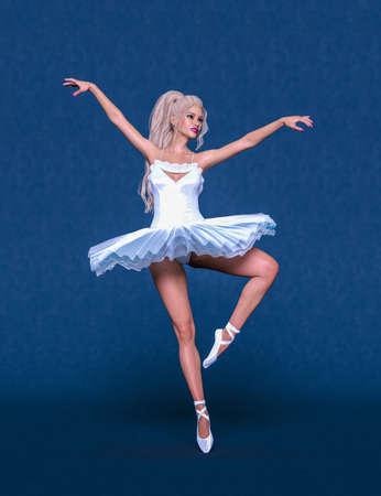 3D Ballerina light classic pointe shoes. Dancing woman. Ballet dancer. Studio photography. Conceptual fashion art render. Pastel background. 写真素材