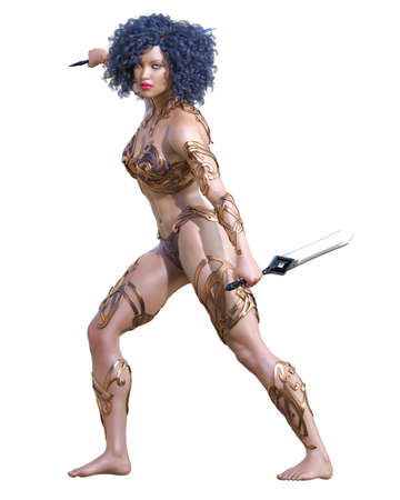 Warrior amazon woman with sword. Long hair. Muscular athletic body. Girl standing candid provocative pose. Conceptual fashion art. 3D render isolate illustration. Hi key.