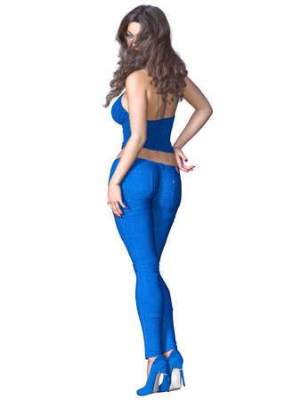 Girl with long hair in blue stretch jeans and top. Beautiful girl standing sexually explicit pose. 3D rendering isolate illustration.