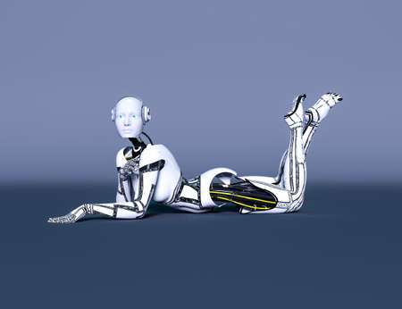 Robot woman. White metal droid. Artificial Intelligence. Cybernetic mechanism. Neural networks. Conceptual fashion art. 3D render illustration. Studio, high key. Reklamní fotografie