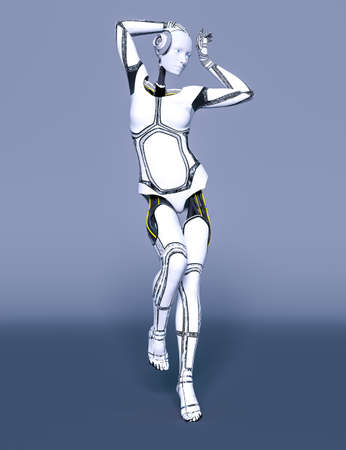 Robot woman. White metal droid. Artificial Intelligence. Cybernetic mechanism. Neural networks. Conceptual fashion art.3D render illustration. Studio, high key.