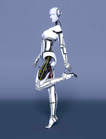 Robot woman. White metal droid. Artificial Intelligence. Cybernetic mechanism. Neural networks. Conceptual fashion art. 3D render illustration. Studio, high key.