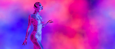 Woman robot virtual reality glasses. Neural networks. Artificial Intelligence. Conceptual fashion art. 3D render. Colorful smoke background. Sci-fi.