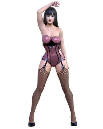 Tall sexy woman corset and stockings garters. Girl magnificent voluptuous shapes. Conceptual fashion art. Seductive candid pose. 3D render isolate illustration