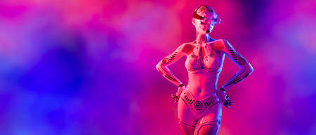 Woman robot virtual reality glasses. Neural networks. Artificial Intelligence. Conceptual fashion art. 3D render. Colorful smoke background. Imagens