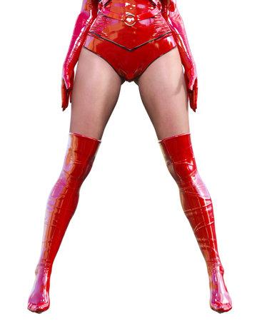 3D Beautiful sexy woman legs red latex corset stocking.Minimalist extravagant clothes.Woman studio photography.High heel.Conceptual fashion art.Burlesque show.Render illustration.Fetish uniform Imagens