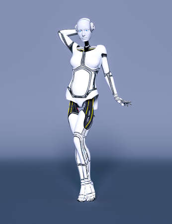 Robot woman.White metal droid.Android girl.Artificial Intelligence.Cybernetic mechanism.Neural networks.Conceptual fashion art.3D render illustration.Studio, high key. Reklamní fotografie