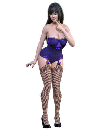 Tall sexy woman corset and stockings garters.Burlesque show.Girl magnificent voluptuous shapes.Conceptual fashion art.Seductive candid pose.3D render isolate illustration
