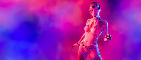 Woman robot virtual reality glasses.White metal droid.Neural networks.Artificial Intelligence.Conceptual fashion art.3D render.Colorful smoke background.Copy space.Minimal style.Sci-fi.Future is today