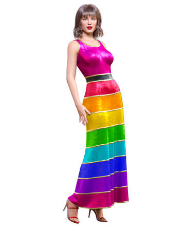 Beautiful sexy brunette woman in long evening multicolored shiny dress.Summer clothes collection.Bright makeup.Woman studio photography.Conceptual fashion art.Femme fatale.3D Render.