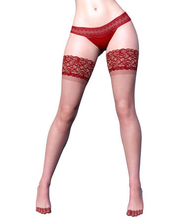 Beautiful long slender sexy female legs red panties and stockings.Beautiful underwear collection.Provocative liberated pose.3D rendering.Isolate.Conceptual fashion art.