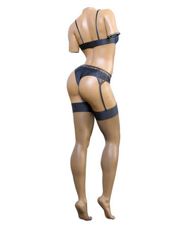 Female mannequin.Torso.Without head and limbs.Plastic, tree.Underwear intimate clothing collection. Briefs, bra and stockings with garters.Extravagant fashion art. 3D render isolate illustration.