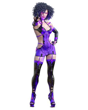 3D assassin warrior amazon woman render.Futuristic neon glow costume.Comic cosplay hero.Cartoon, comics, manga illustration.Conceptual fashion art.Seductive candid pose.Isolated Stock fotó