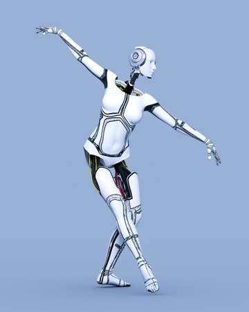 Robot woman.White metal droid.Android girl.Artificial Intelligence.Cybernetic mechanism.Neural networks.Conceptual fashion art.3D render illustration.Studio, high key.