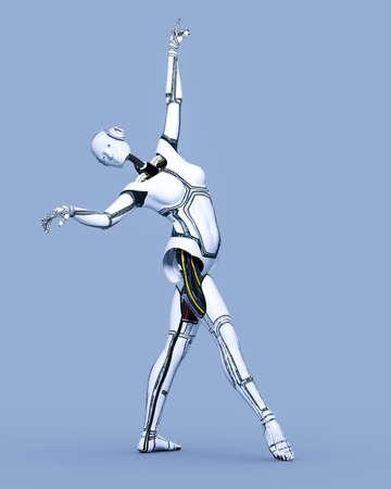 Robot woman. White metal droid. Artificial Intelligence. Conceptual fashion art 3D render illustration. Reklamní fotografie