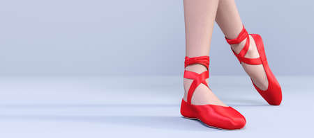 3D Ballerina legs light classic pointe shoes. Dancing woman. Ballet dancer. Studio photography. Conceptual fashion art render. Pastel background. Close up view. Copy space Stock fotó
