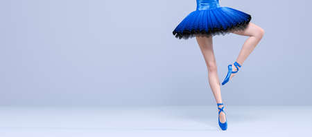 3D Ballerina legs light classic pointe shoes and ballet tutu. Dancing woman. Ballet dancer. Studio photography. Conceptual fashion art render. Pastel pink background. Copy space