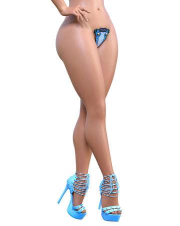 Tall sexy woman minimalist futuristic lingerie.Curves shape.Metal bra panties.Conceptual fashion art.Seductive candid pose.Realistic 3D render illustration.Isolate.Illustration for popsocket Stock fotó