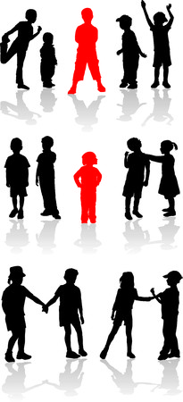 Vector silhouette girls and boys Vector