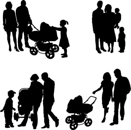 black family: Young family (vector) Illustration