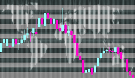 exchange loss: Business graph, Candlestick Illustration