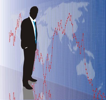 stock market exchange: World stock market, exchange business, DAX, Dow Jones  Illustration