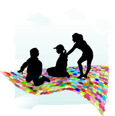 individual: Color puzzle, children, individual elements of isolated vector Illustration
