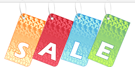 Shopping tags spelling SALE over white background Stock Vector - 4859023