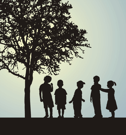 Children in a confidential interview under a tree