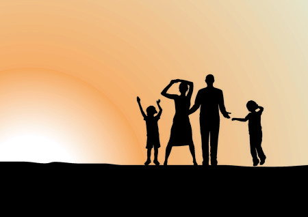 parents and child: Happy family